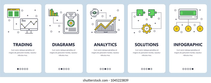Vector set of vertical banners with Trading, Diagrams, Analytics, Solutions, Infographic website templates. Modern thin line flat style design.