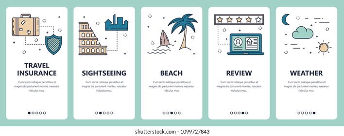 Vector set of vertical banners with Travel insurance, Sightseeing, Beach, Review, Weather website and mobile app templates. Modern thin line flat style design.