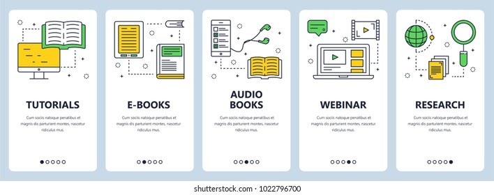 Vector set of vertical banners with Tutorials, E-books, Audio books, Webinar, Research website templates. Modern thin line flat style design.