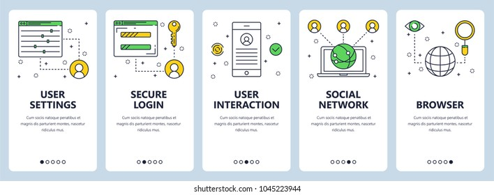 Vector set of vertical banners with User settings, Secure login, User interaction, Social network, Browser website templates. Modern thin line flat style design.