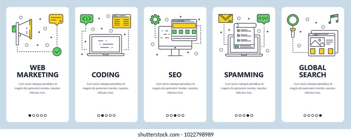 Vector set of vertical banners with Web marketing, Coding, SEO, Spamming, Global search website templates. Modern thin line flat style design.