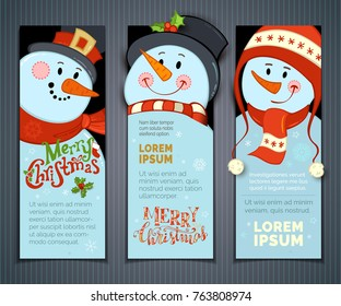 Vector set of vertical Christmas banners with cute snowmen.Cartoon smiling snowmen with hats and scarves. Holly berries, snowflakes and stars. Christmas backgrounds. There is copy space for your text.