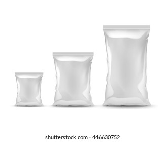 Vector Set of Vertical Sealed Empty Plastic Foil Bags of Different Size for Package Design with Smooth Edges Front View Close up Isolated on White Background