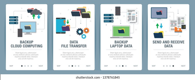Vector set of vertical web banners with backup cloud computing, backup laptop data, send and receive data.Vector banner template for website and mobile app development with icon set.