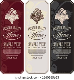 Vector set of vertical wine labels with bunches of grapes, calligraphic inscriptions and place for text in retro style.