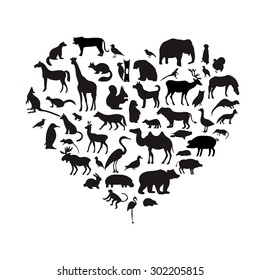 Vector set of very detailed animal silhouettes on isolated background.