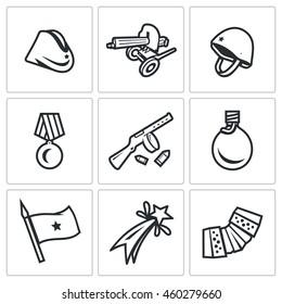 Vector Set of Victory Day in Russia Icons. Garrison cap, Machine gun, Helmet, Order, Submachine, Flask, Flag, Firework, Harmonic.