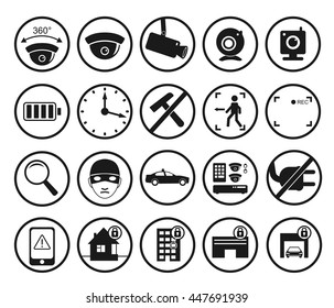 camaras seguridad ip stock illustrations images vectors Fire Alarm Symbols PDF vector set of video surveillance and security systems icons illustration of black and white round