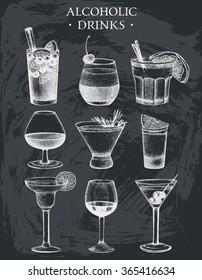 Vector set of vintage alcoholic drinks sketch. Ink hand drawn beverages illustrations for bar or restaurant menu isolated on chalkboard.