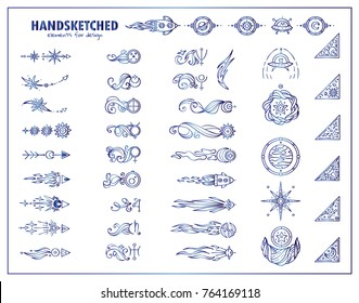 Vector set of vintage arrows, corners, dividers for frames, borders in blue watercolor style. Space elements – symbols of planet with waves, stars, UFO, spaceship, satellite, comet, moon