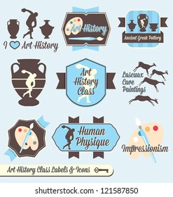 Vector Set: Vintage Art History Class Labels and Icons