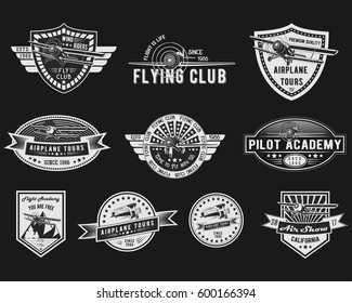 Vector set of Vintage Aviation for logo templates, icons, emblems, color graphic collection signs, air flight, tour, promotion promotion isolated on black background