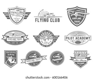 Vector set of Vintage Aviation for logo templates, icons, emblems, color graphic collection signs, air flight, tour, promotion promotion isolated on white background