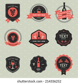 Vector Set of vintage badge Wine and grape, labels and design elements