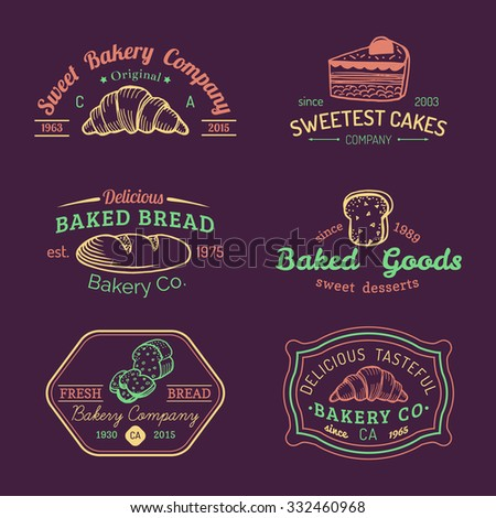 afd8aac482be6 Vector set of vintage bakery logos. Retro labels collection with sweet  cookie