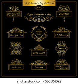 Vector set of vintage banners, tags for Valentines day, wedding or engagement card, invitation. Hand drawn calligraphy wave elements for design. Premium gold and black colors