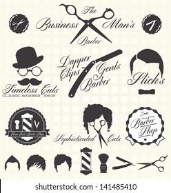 Vector Set: Vintage Barber Shop Labels