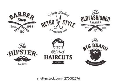 Vector set of vintage barber shop emblems. Barber shop logo templates.