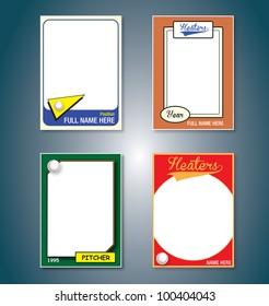Vector Set: Vintage Baseball Cards Picture Frames