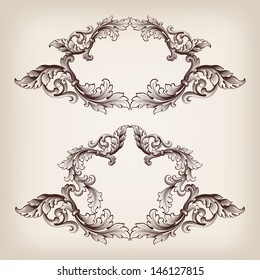 vector set vintage border frame baroque filigree engraving  with retro ornament pattern in antique style ornate decorative calligraphy design