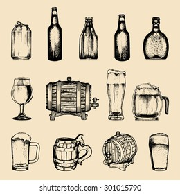 Vector set of vintage brewery elements. Retro collection with beer icons or signs. Lager, ale hand drawn symbols. Barrels, bottles, glasses, mugs, can sketched illustrations.