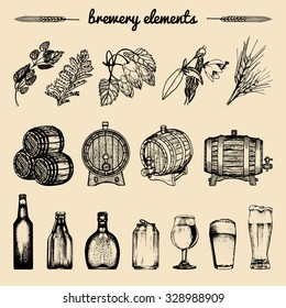 Vector set of vintage brewery hand sketched elements: barrel, bottle, glass, mug, herbs and plants. Retro beer icons collection. Lager, ale background.