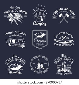 Vector set of vintage camping logos. Tourism emblems or badges. Retro signs collection of outdoor adventures with Indian elements.
