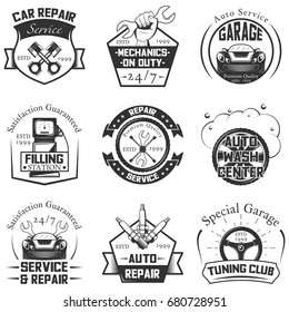Vector set of vintage car service logos, emblems, badges, symbols, icons isolated on white background. Typography design for auto repair, car wash, filling station business and print.