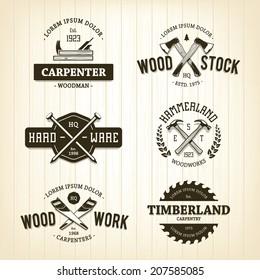 Vector set of vintage carpentry emblems.
