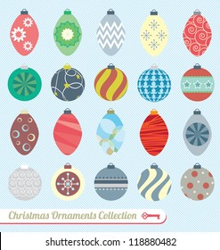 Vector Set: Vintage Christmas Ornaments in Soft Colors