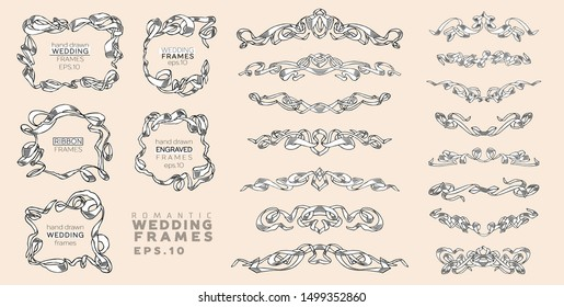 Vector Set of Vintage Classic Engraved Frames and Dividers Hand Drawn in Art Nouveau Style