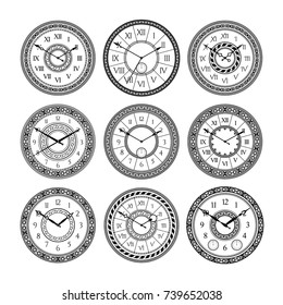 Vector set of vintage clocks. Monochrome pictures isolated. Symbols of time. Clock time with arrow and antique number dial illustration