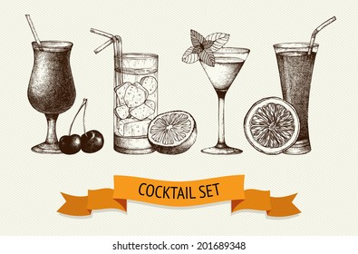 Vector set of vintage cocktails with berries and fruits. Ink hand drawn cocktail illustrations