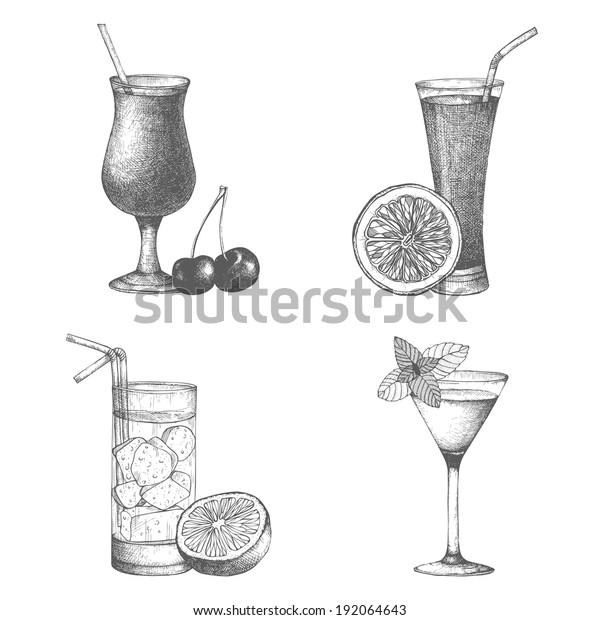 Vector Set Vintage Cocktails Berries Fruits Stock Vector