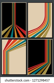 Vector Set of Vintage Color Backgrounds, Patterns, Covers from the 70s