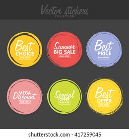 Vector set of vintage colorful  labels for greetings and promotion. Premium Quality Guarantee, Bestseller, Best Choice, Sale, Special Offer. Banners and sticker. Retro painting design.
