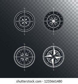 Vector set of vintage compasses or marine wind roses. Collection in line art style. Isolated on dark transparent background. Withe line collection with the basic directions North and South.