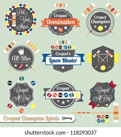 Vector Set: Vintage Croquet Champion Labels and Icons