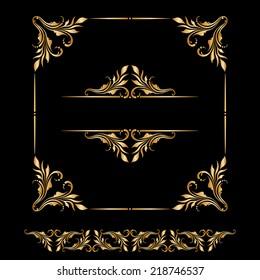 Vector set of vintage decorative elements for design, print, embroidery.