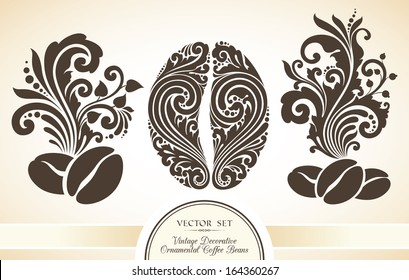 Vector set of vintage decorative ornamental coffee beans