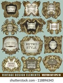 Vector set vintage design elements and retro label and frames