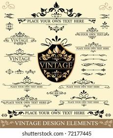 Vector Set of Vintage Design Elements:  ornaments,frames and dividers