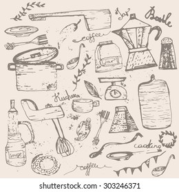 Vector Set of vintage doodle kitchen and cooking supplies with jar, pan, blender. EPS10.