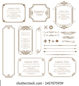 Vector set of vintage elements for design. Ornamental frames, borders, dividers, banners, arrows, monogram, corners, square, template for logo. Pear and flower vignette. Premium gold style