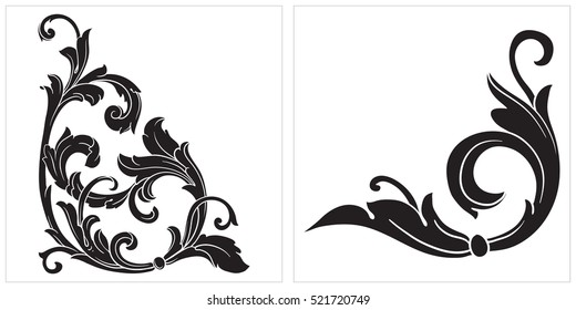 Vector set of vintage elements for design. Ornamental corners in baroque style.