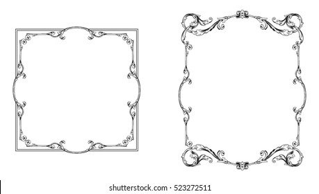 Vector set of vintage elements for design. Ornamental vector in baroque style.