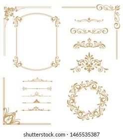 Vector set of vintage elements. Frames, dividers for your design. Golden Components in royal style. Elements for design menus, websites, certificates, boutiques, salons, etc.