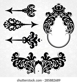 Vector set of vintage elements in Victorian style. Black arrows, vignette and frame. Ornate decor for design. Ornamental patterns for invitations, birthday and greeting cards. Traditional decor.