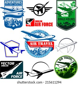 vector set of vintage emblems labels with airplane and airforce