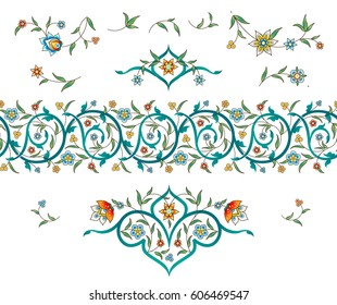 Vector set with vintage floral decor, ornate vignettes for design template. Eastern style elements. Luxury floral illustration. Ornamental decor for greeting card, save the date, invitation.